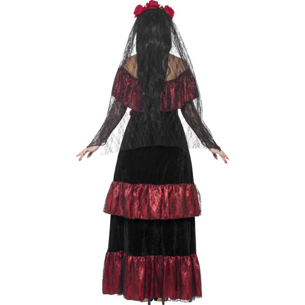 Smiffys Day of the Dead Bride Costume with Rose Veil Red/Black Large - View #2