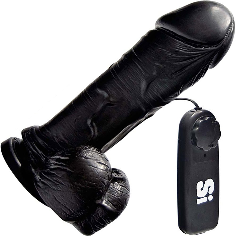"Thick Realistic Cock with Suction and Vibration 8"" Black - View #2"
