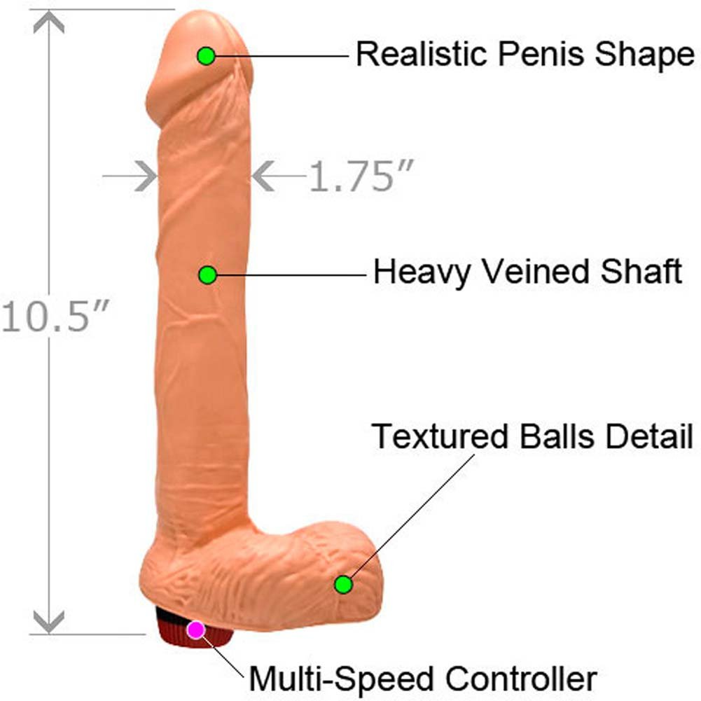 "Straight Realistic Vibrating Cock with Balls 9"" Flesh - View #1"