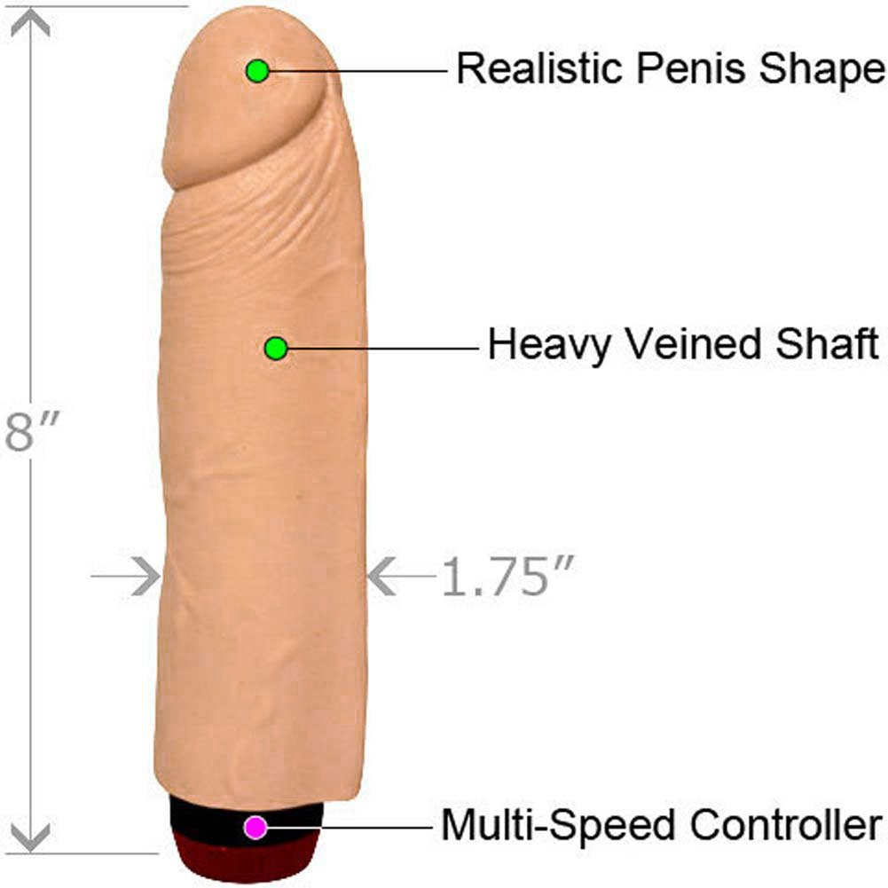 "Straight Realistic Vibrating Cock 8"" Natural Flesh - View #1"