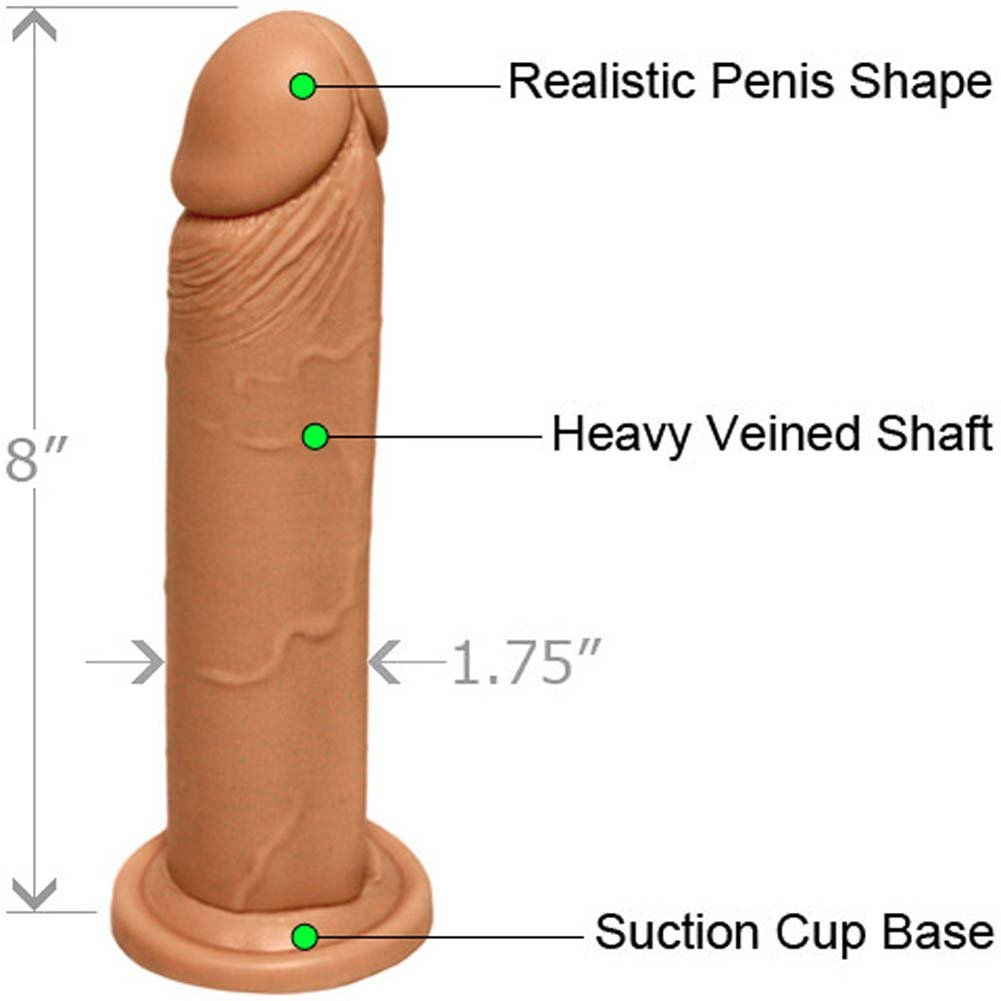"Straight Realistic Cock with Suction Base 8"" Flesh - View #1"