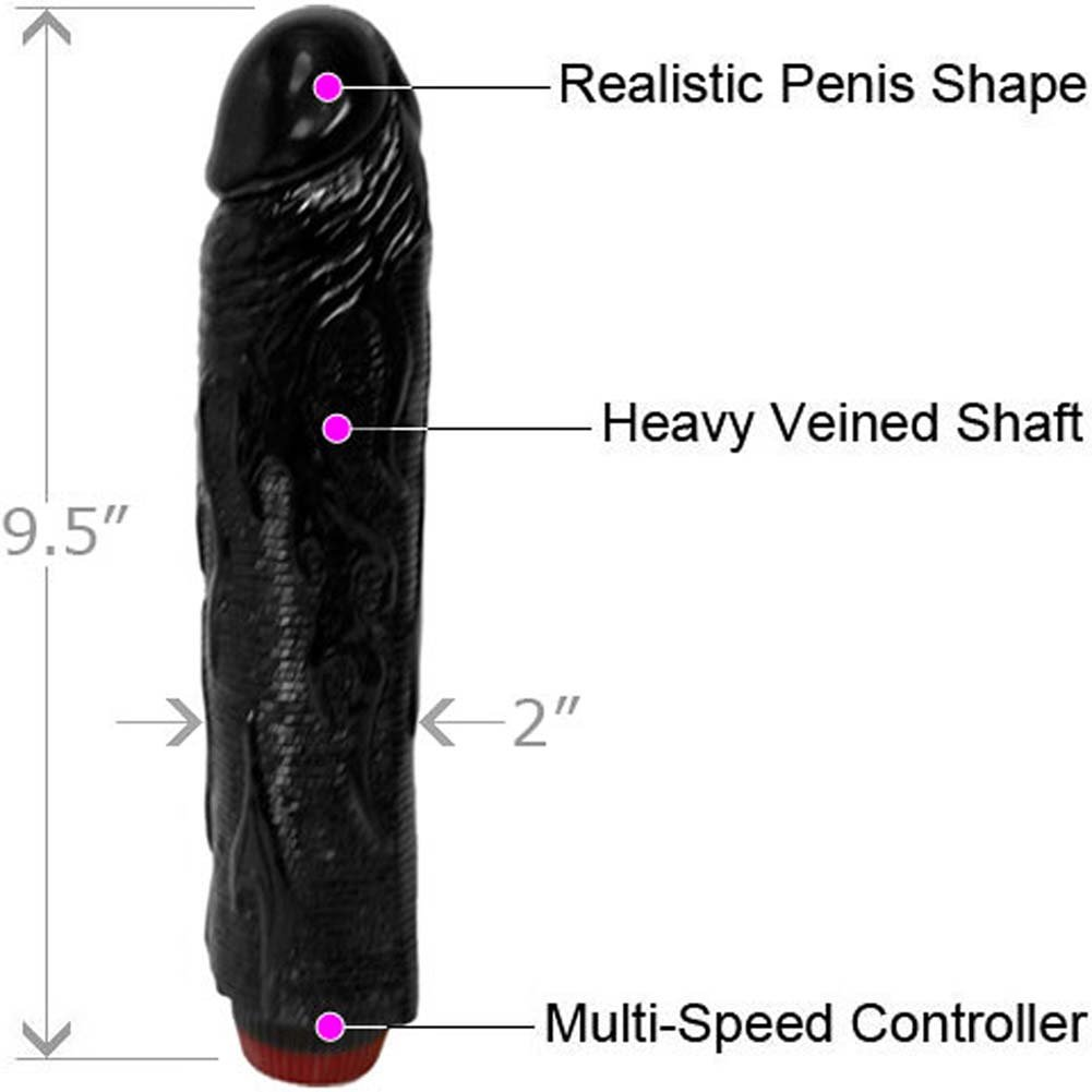 "Ignite Hot Rod Vibrating Dong 8"" Kinky Black - View #1"