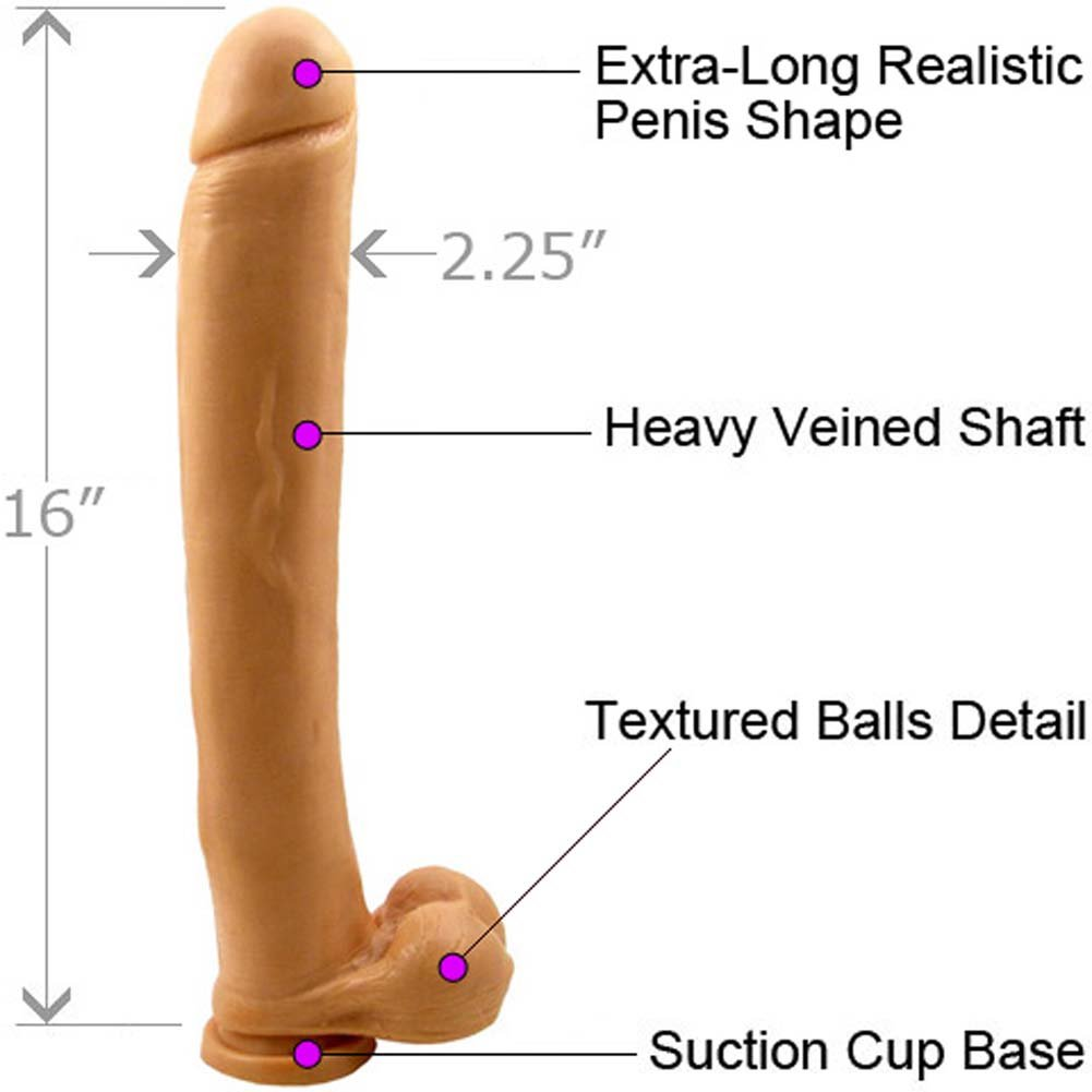 "SI Novelties Ignite Exxxtreme Life Like Dong with Balls and Suction Base 16"" Flesh - View #1"