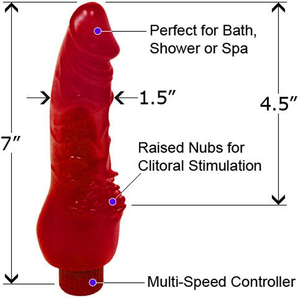 "Invader Waterproof Vibe with Pleasure Bumps 7"" Red - View #1"