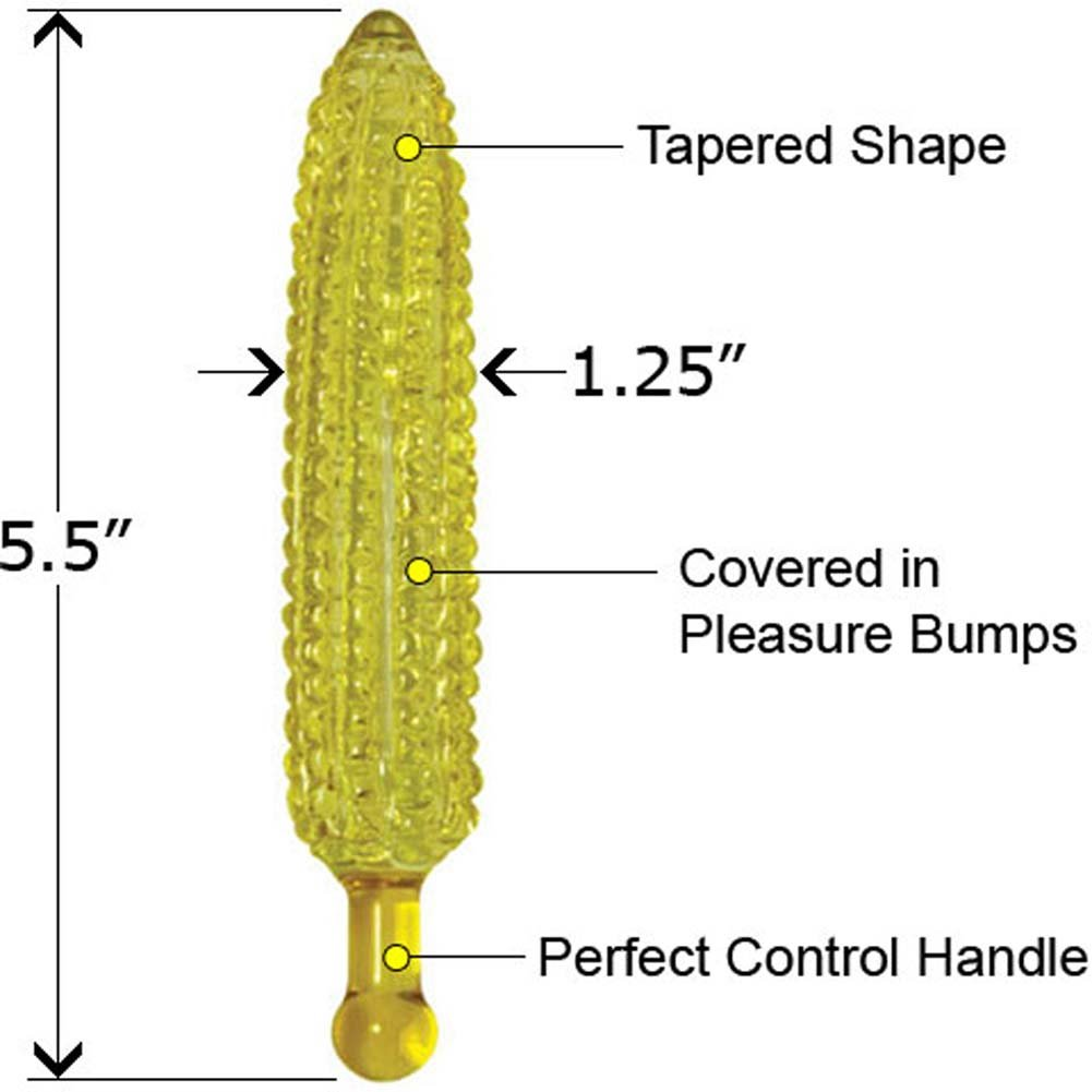 "Jasper Corn Glass Dildo with Storage Bag 5.5"" - View #1"