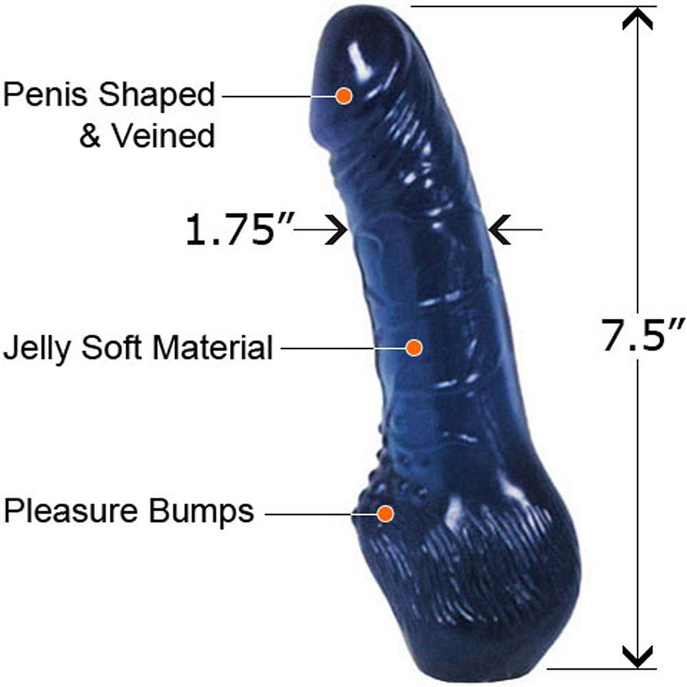 "Jelly Dong with Pleasure Bumps 7.5"" Blue - View #2"