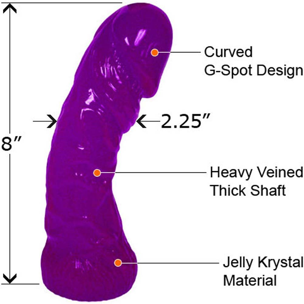 "Oversized G-Spot Curved Jelly Dong 8"" Purple - View #1"
