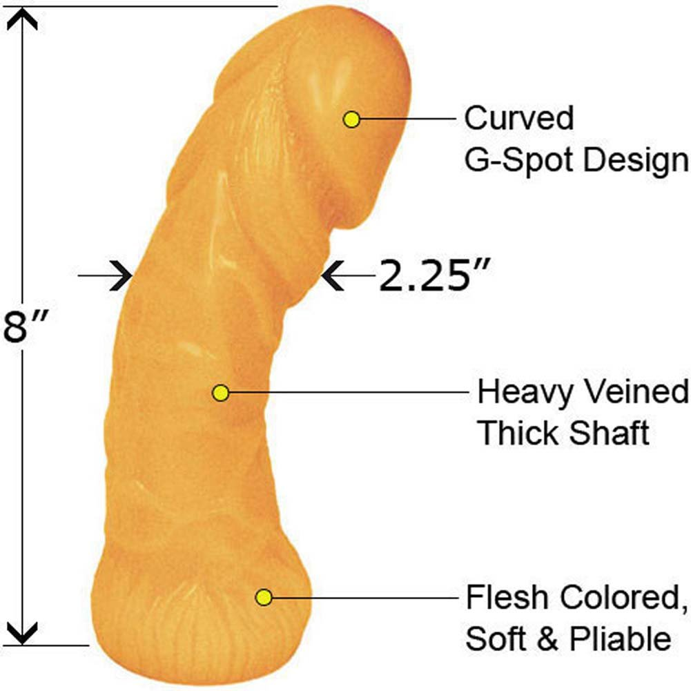 """Oversized Curved Textured Jelly Dildo 8"""" Peach Flesh - View #1"""