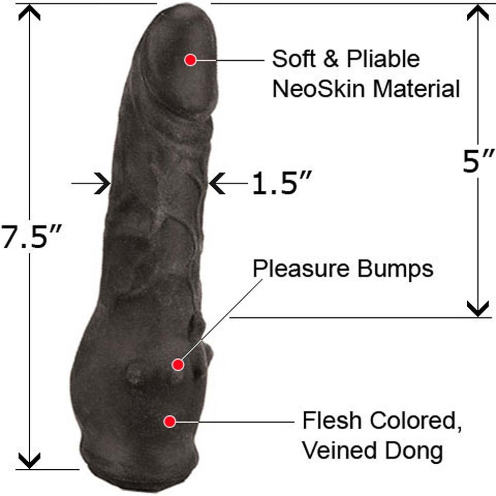"Clitterific NeoSkin Dong with Clitoral Bumps 7.5"" Ebony - View #1"
