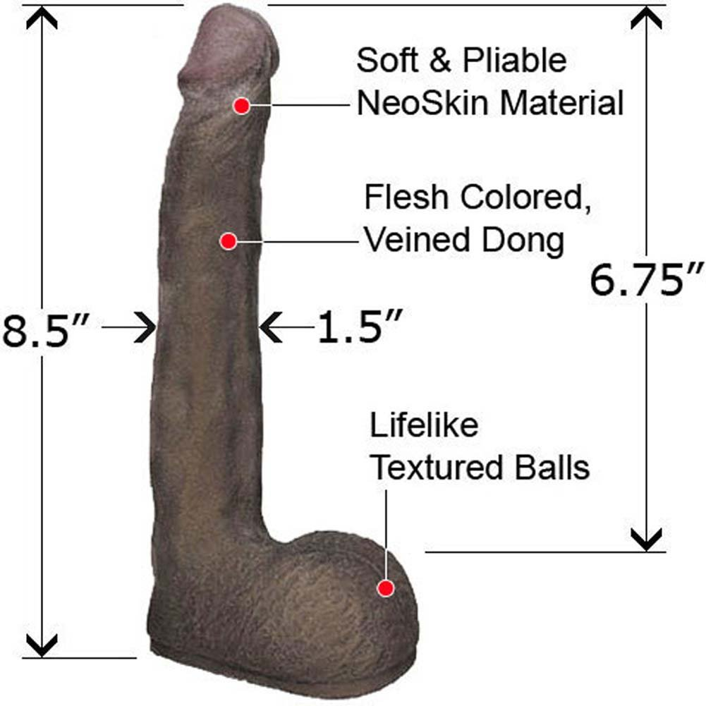 "Slim OptiFlesh Dong with Balls 8.5"" Ebony - View #1"