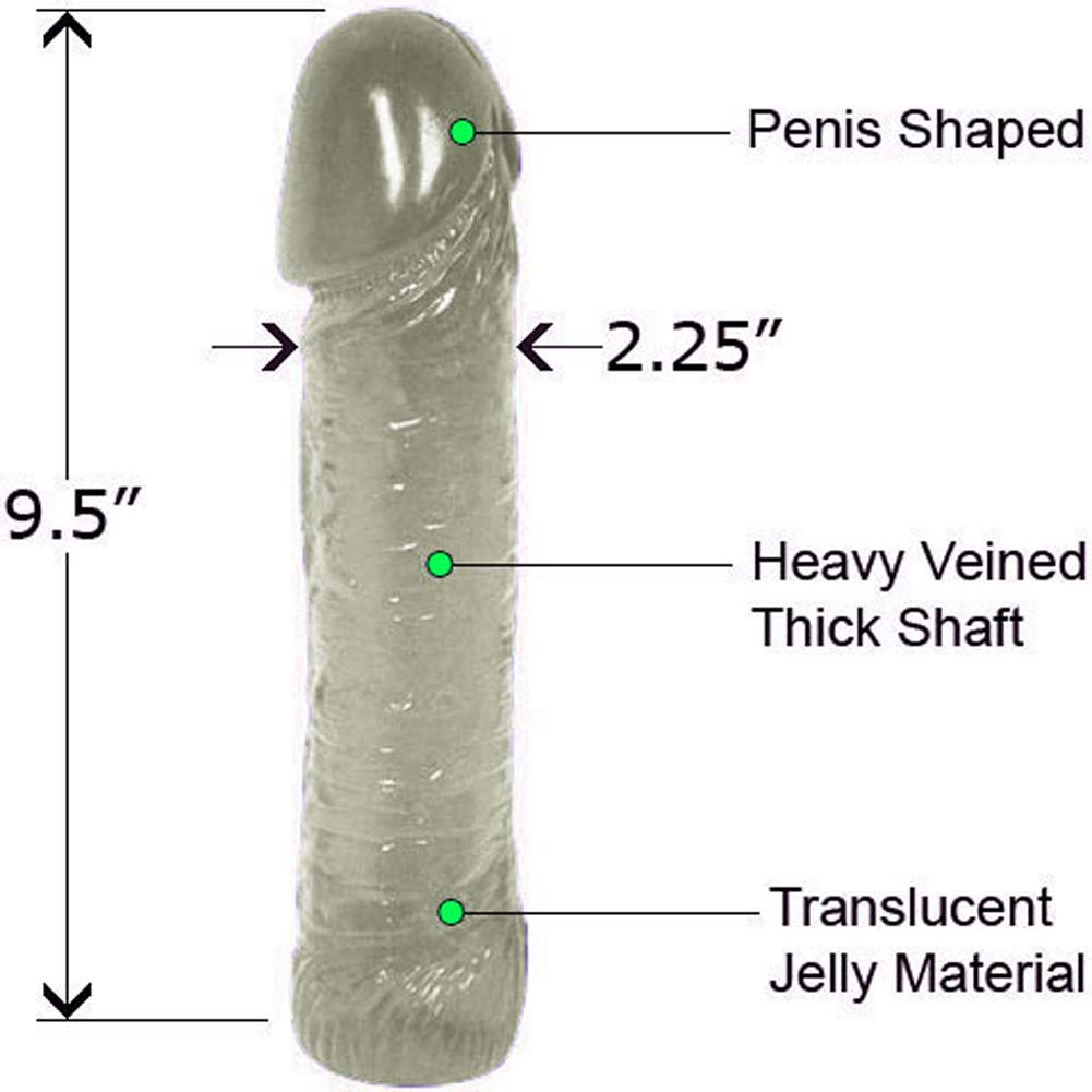 "Life Like Oversized Thick Jelly Cock Dong 9"" Clear - View #1"