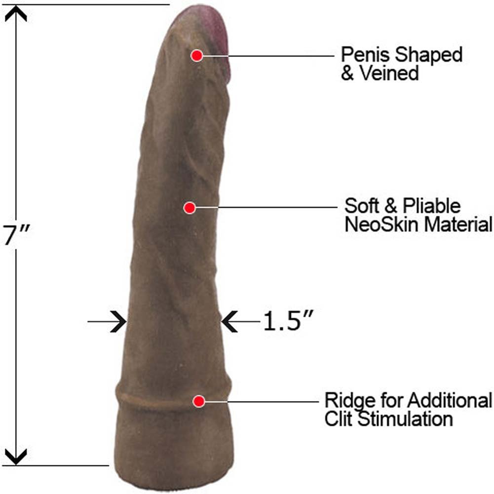 "Slim NeoSkin Dong with Stimulating Ring 7"" Mocha - View #1"