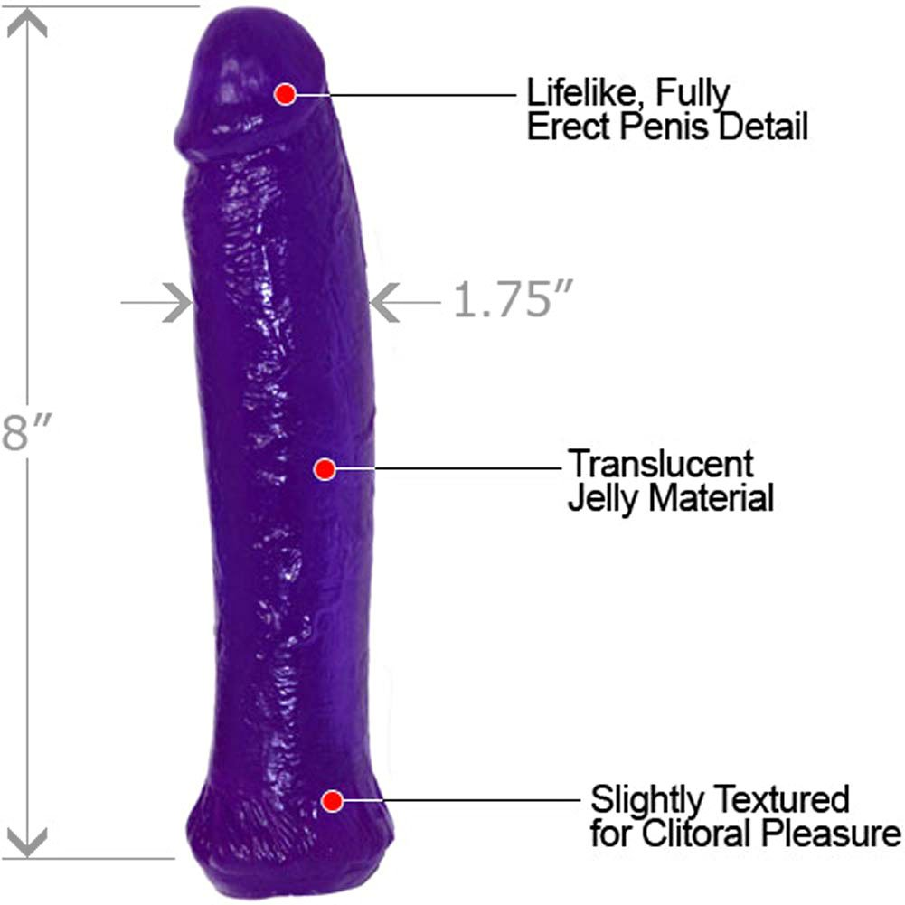 "Waterproof Jelly Straight Life Like Dong 8"" Kinky Purple - View #1"