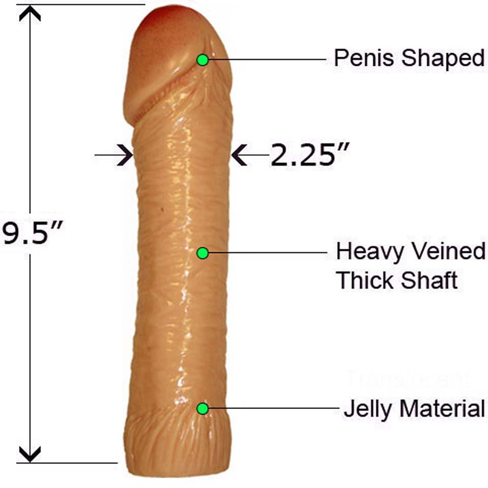 """Life Like Oversized Thick Jelly Cock Dong 9"""" Natural Flesh - View #1"""