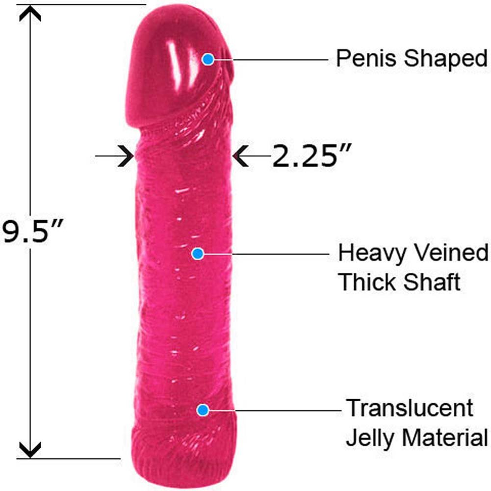 "Life Like Oversized Thick Jelly Cock Dong 9"" Sensual Pink - View #1"