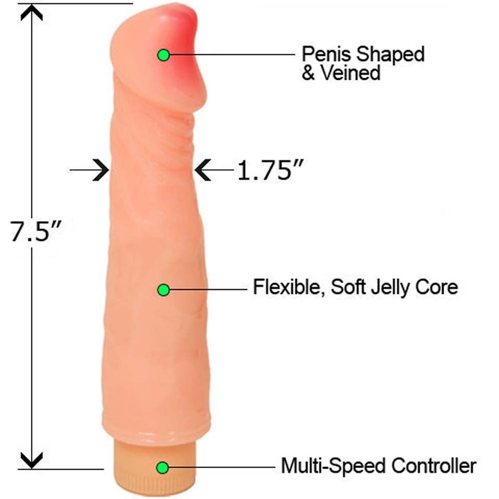 "Vibrating Jelly Dong 7.5"" Flesh - View #1"