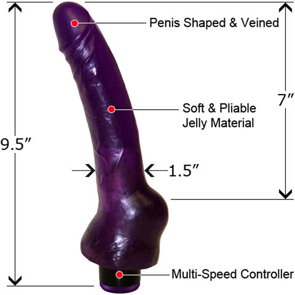 "Clitterific Vibrating Jelly Dong 9"" Sexy Purple - View #1"