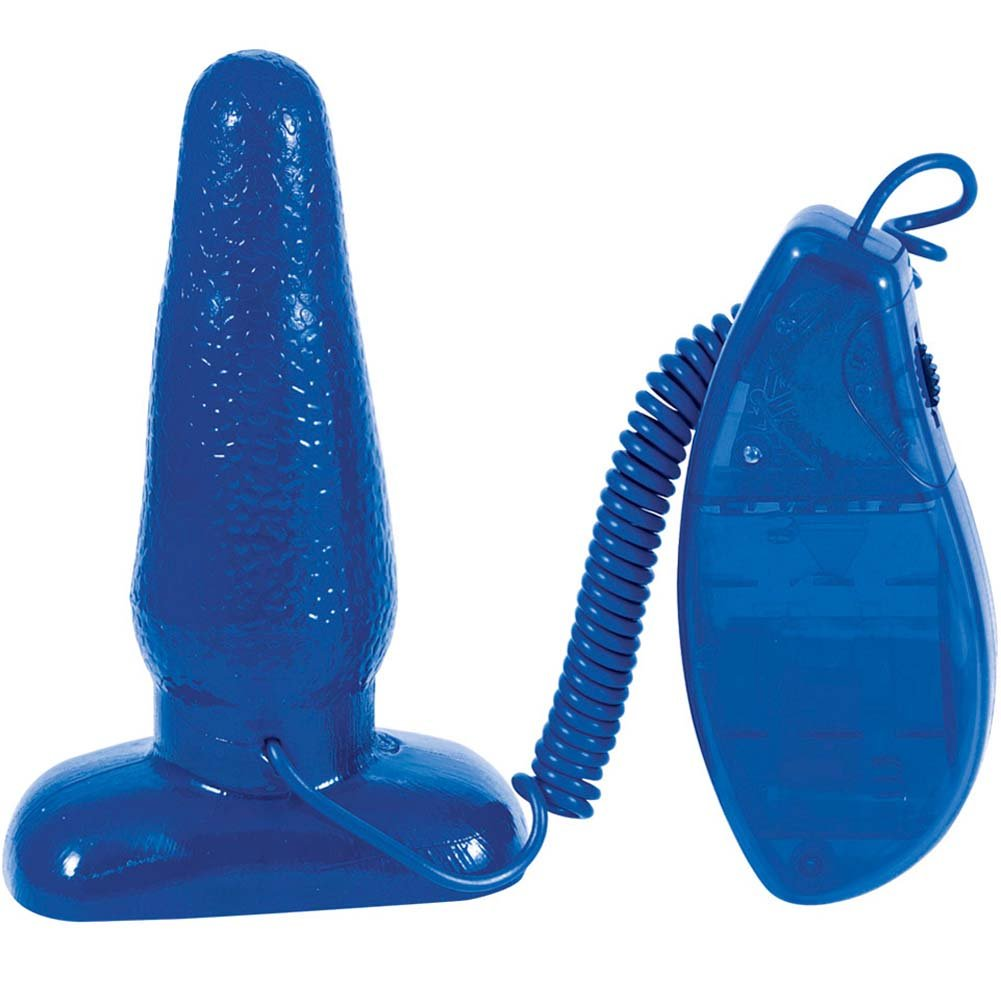 "Medium Sized Vibrating Jelly Butt Plug 5.25"" Blue - View #2"