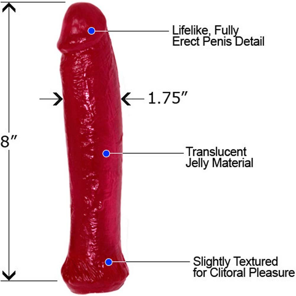 "Waterproof Jelly Straight Life Like Dong 8"" Erotic Red - View #1"