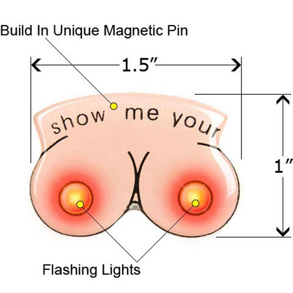 Flashing Titties Magnetic LED Party Pin - View #1