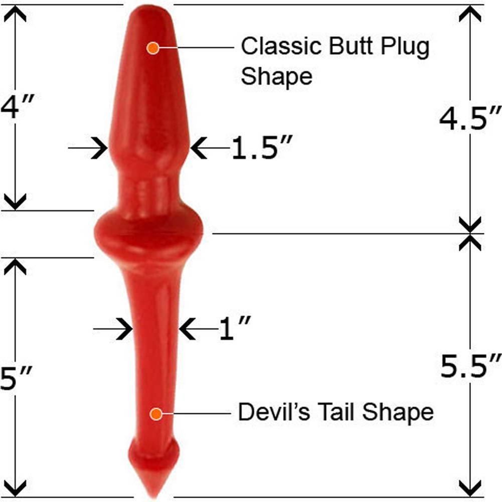 "Boi Toyz SensaFirm Lil Devil Tail Butt Plug 10"" Red - View #1"
