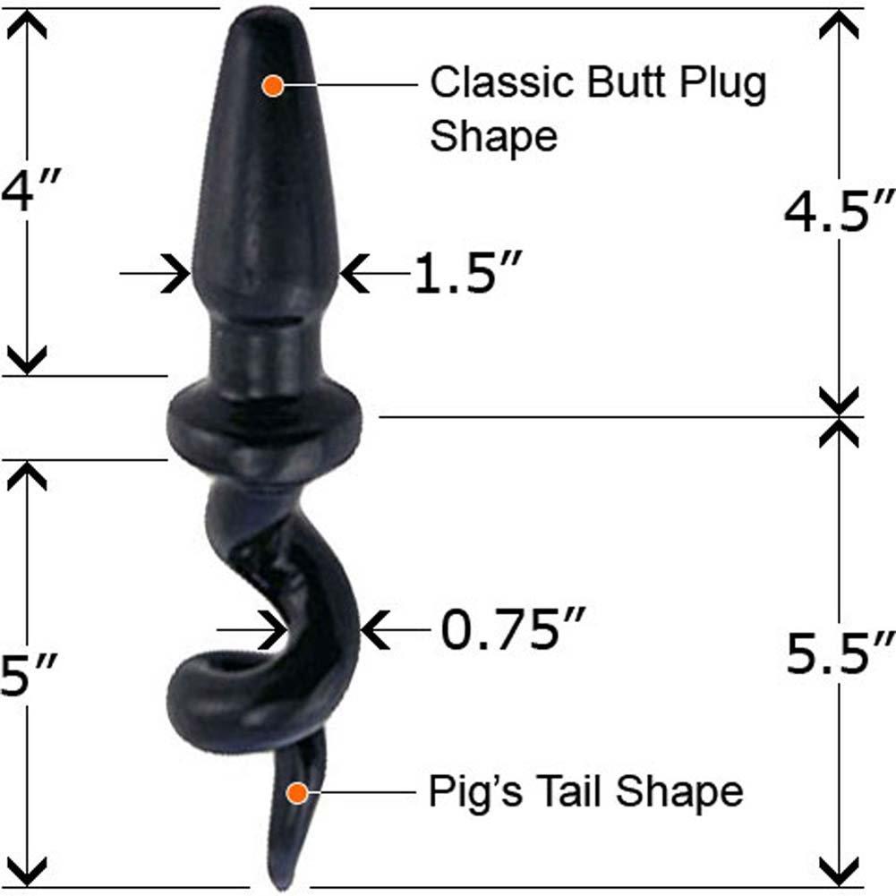 "Boi Toyz SensaFirm Sexy Pig Tail Butt Plug 10"" Black - View #2"