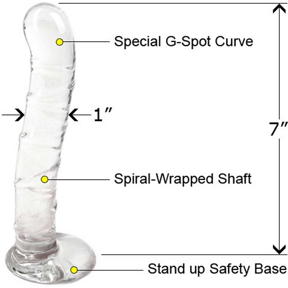 "Jill Kelly CyberGlass Spiral G Dong with Storage Bag 7"" Clear Glass - View #1"