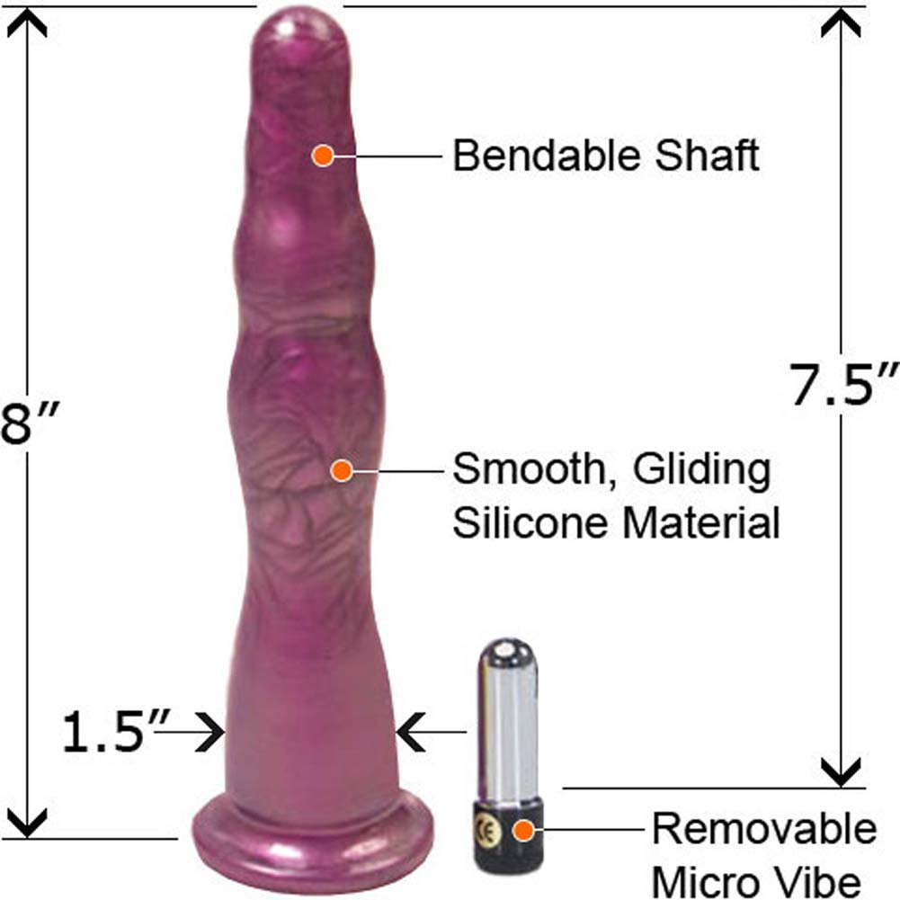 "Hustler Premium Silicone Vibrating Anal Probe Set 8"" Purple - View #1"