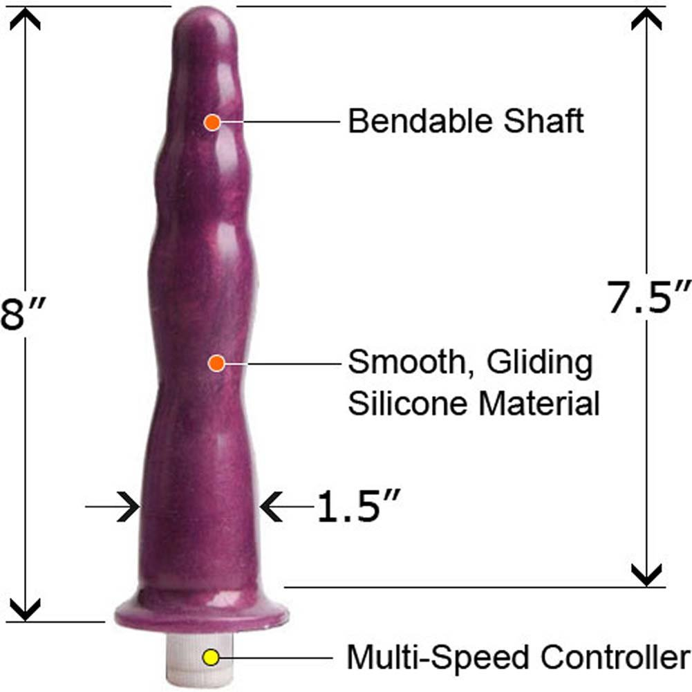 "Premium Silicone Vibrating Bendable Anal Probe 8"" Purple - View #1"