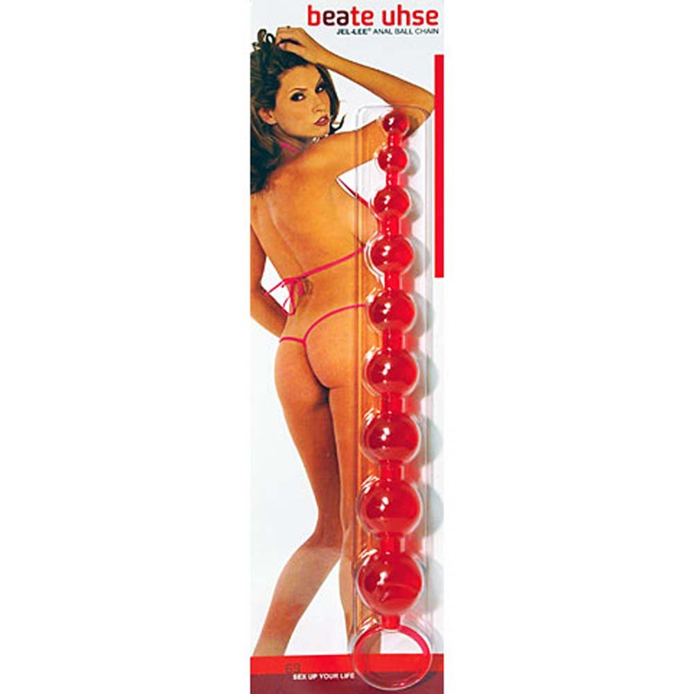 "Beate Uhse JelLee Anal Ball Chain 11"" Red - View #3"