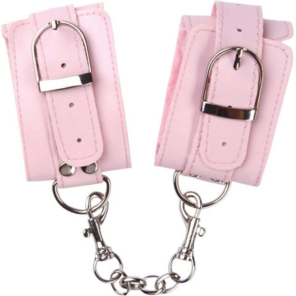 Naughty Girl Lined Wrist Cuffs with Silver Chain Pink - View #2