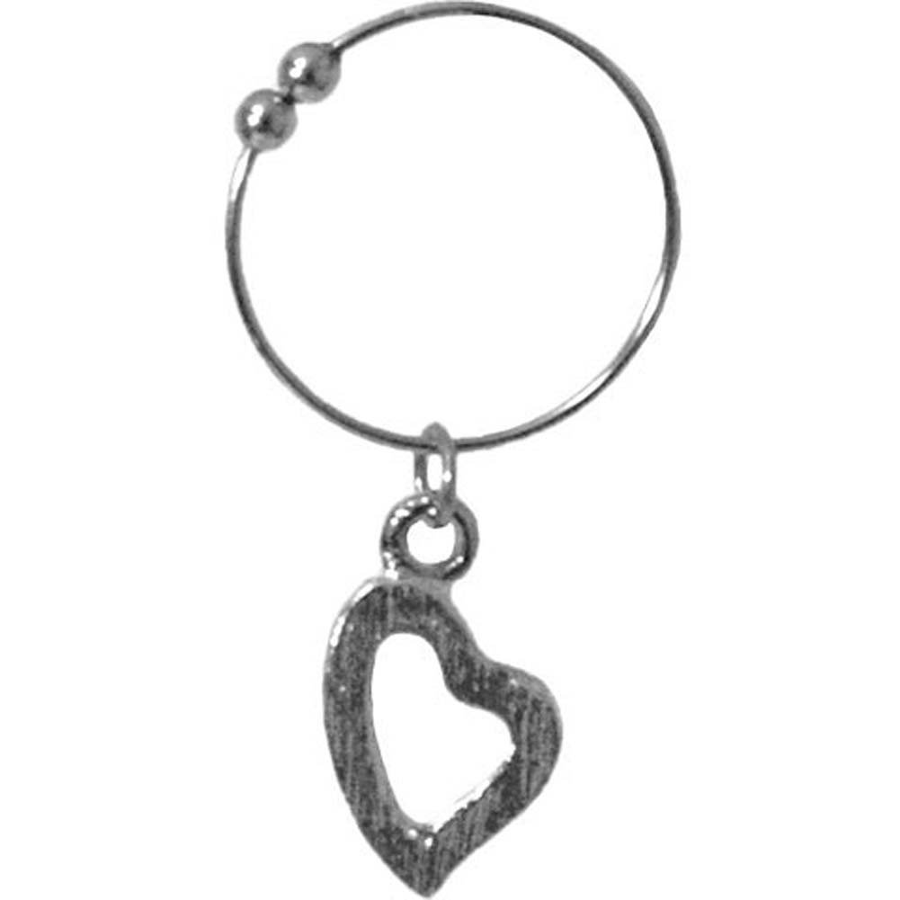 Non Piercing Belly Button Ring with Silver Heart Charm - View #2