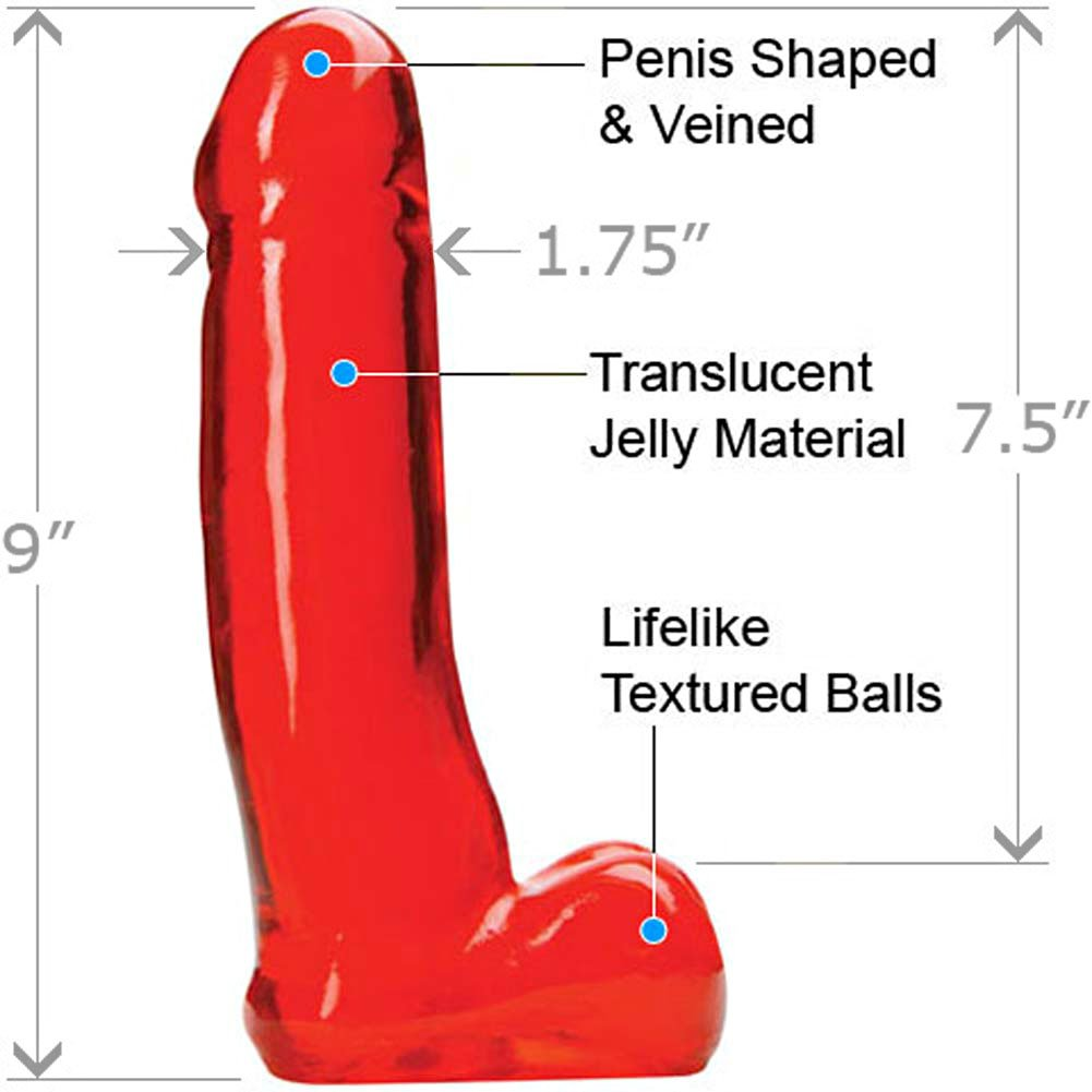 "Massive Cyber Jel Lee Cock with Balls 9"" Hot Red - View #1"