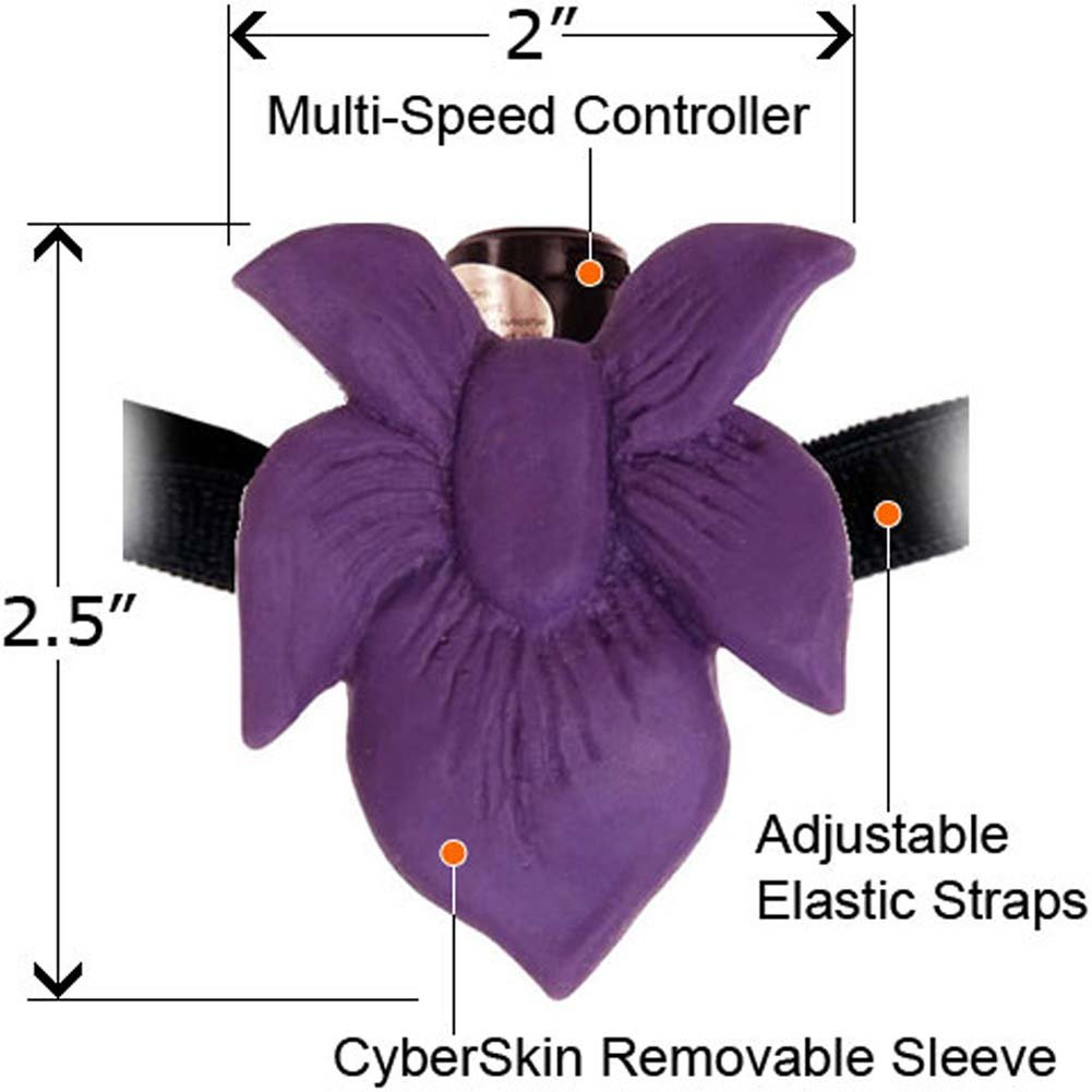 CyberSkin Passion Flower Hands Free Mini Strap-On Vibe Purple - View #1
