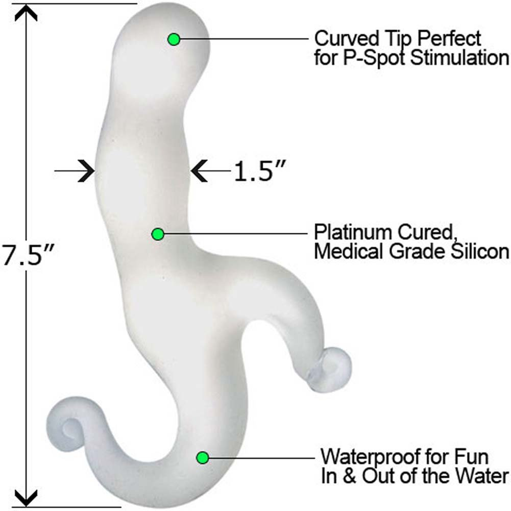"Bottoms Up Silicone P-Spot Rocker Prostate Stimulator for Men 7.5"" White - View #1"
