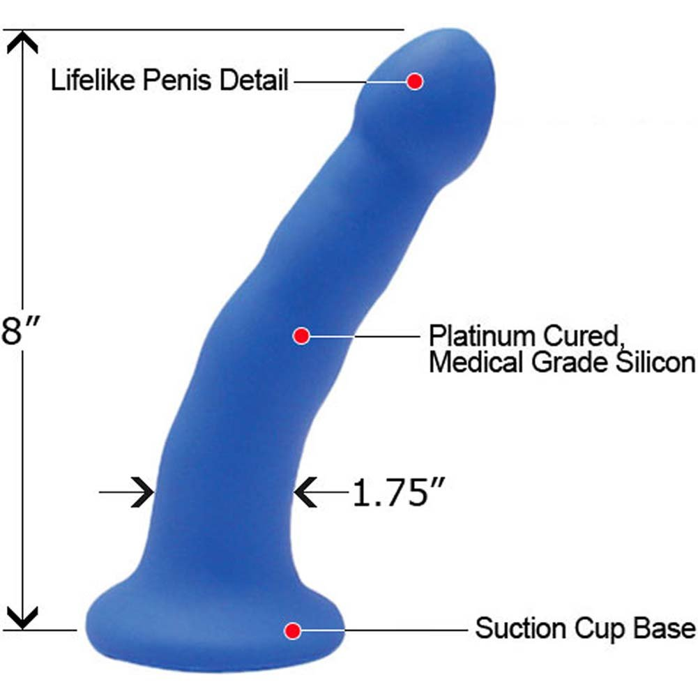 "Grrl Toyz Silicone Strap-On Dong 8"" Blue - View #1"