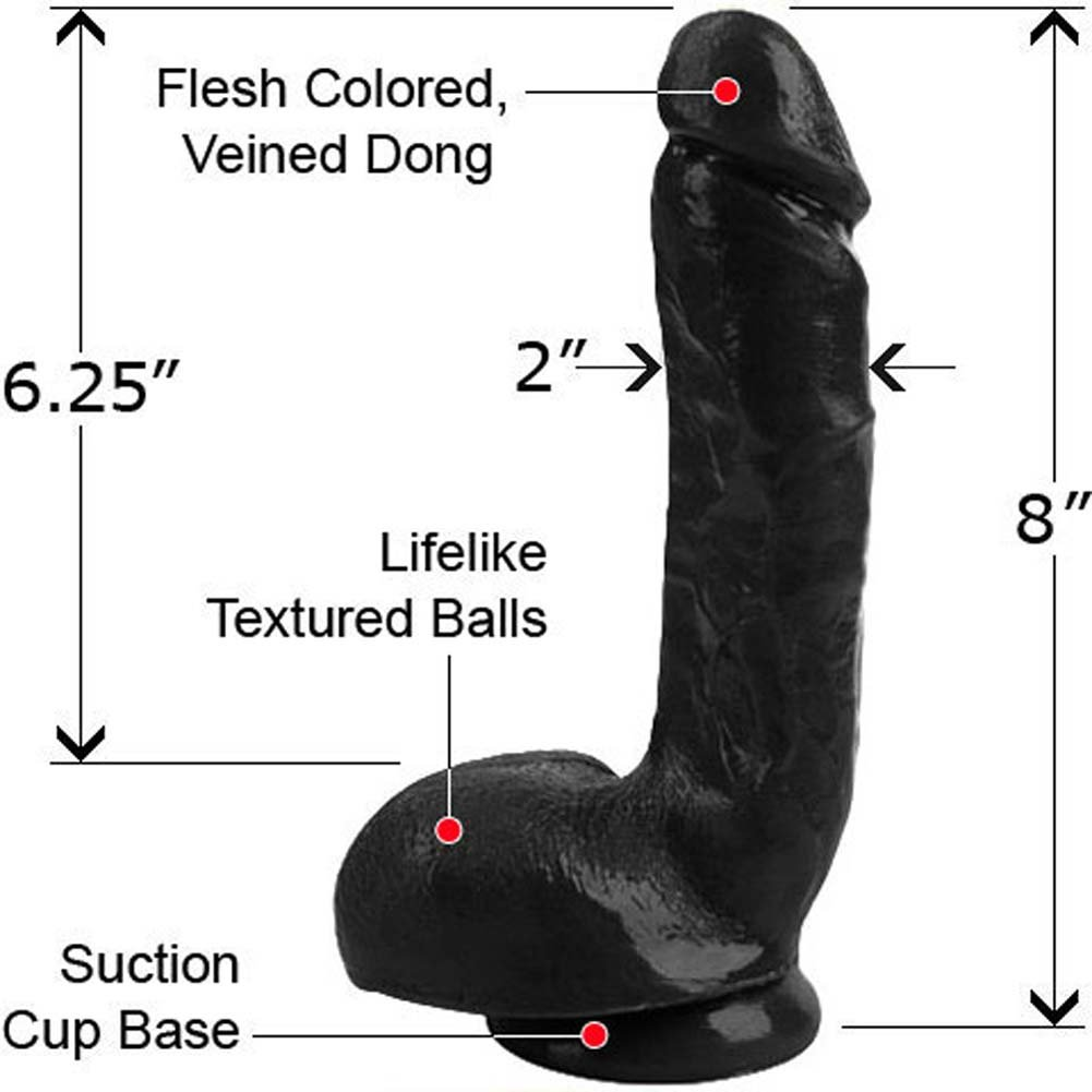 "Elite Solid Cock N Balls Dong 8"" Ebony - View #1"
