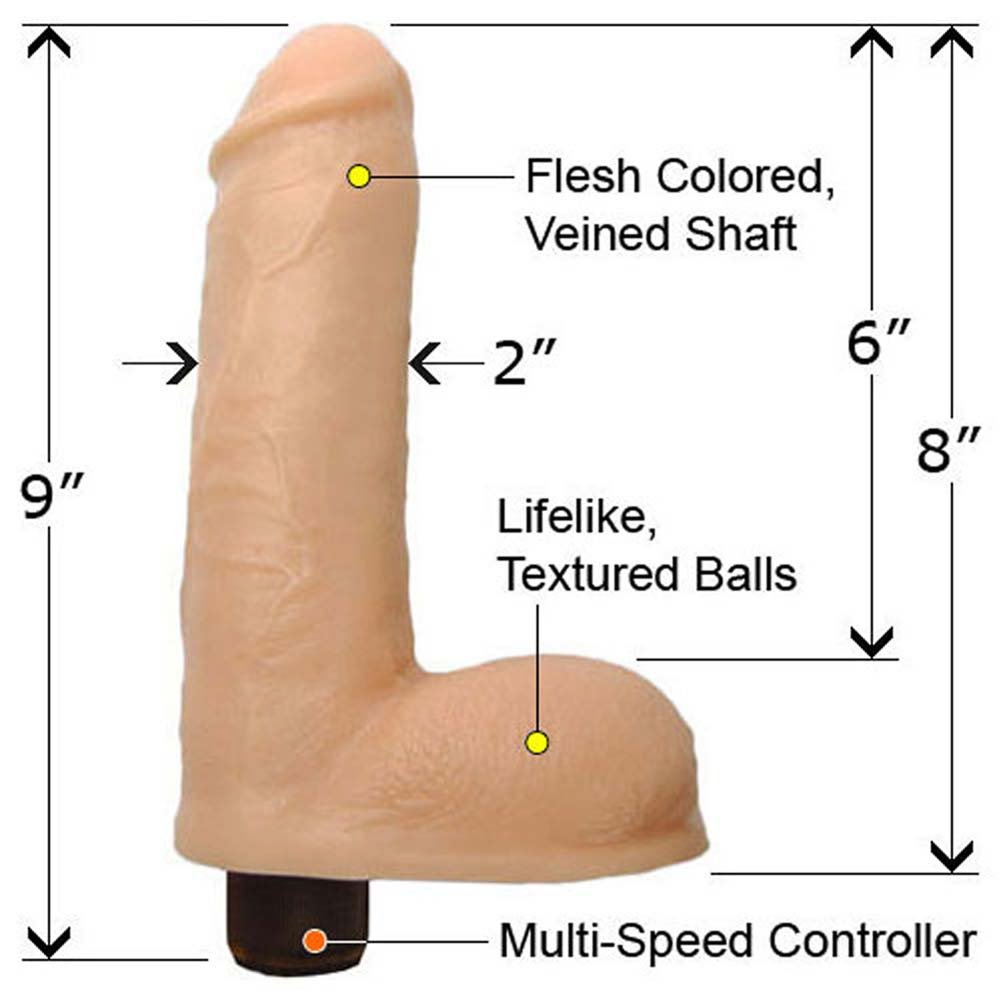 "Premium Silicone Massive Vibrating Cock with Balls 9"" Assorted Colors - View #1"