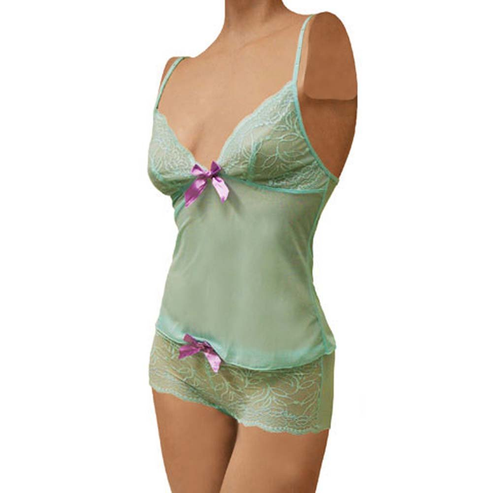 Flowered Lace with Bow Cami and Short Set Small Turquoise - View #1