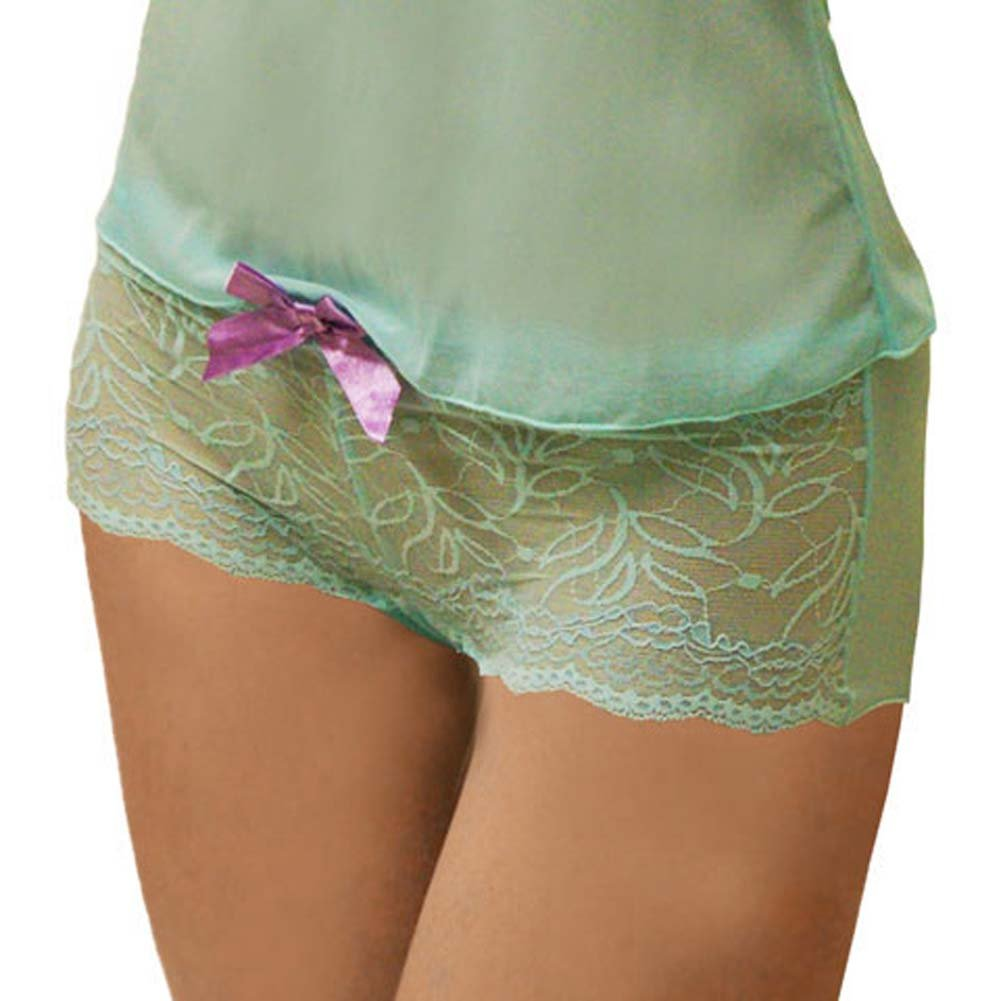Flowered Lace with Bow Cami and Short Set Large Turquoise - View #3