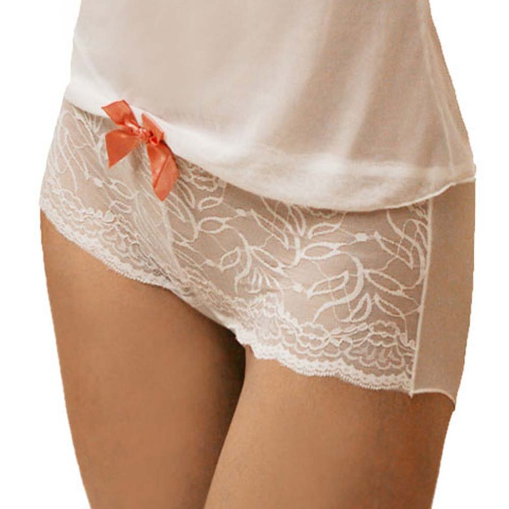 Flowered Lace with Bow Cami and Short Set Large White - View #3