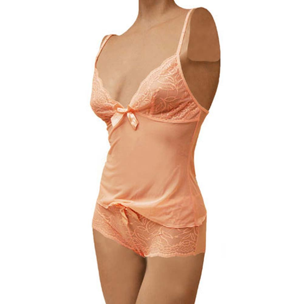 Flowered Lace with Bow Cami and Short Set Medium Pink - View #1