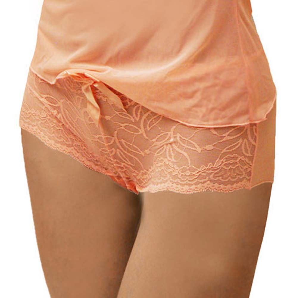 Flowered Lace with Bow Cami and Short Set Medium Pink - View #3
