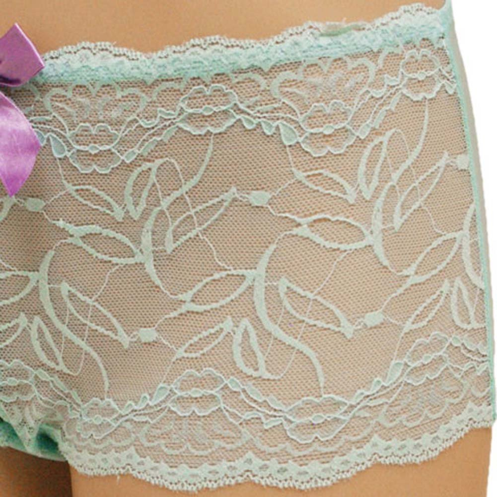 Flowered Lace with Flirty Bow Hipster Large Turquoise - View #3