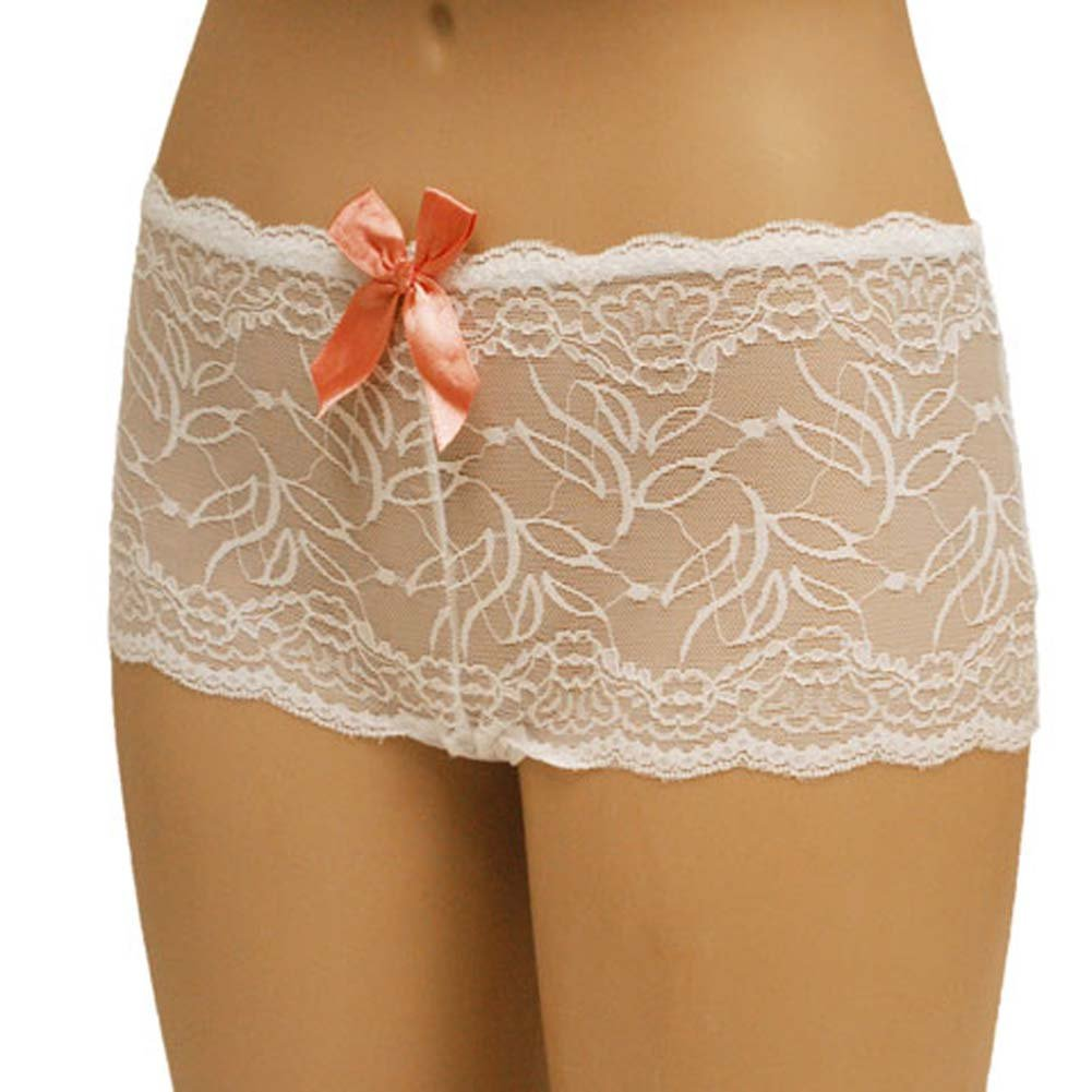 Flowered Lace with Flirty Bow Boyshort Small White - View #1