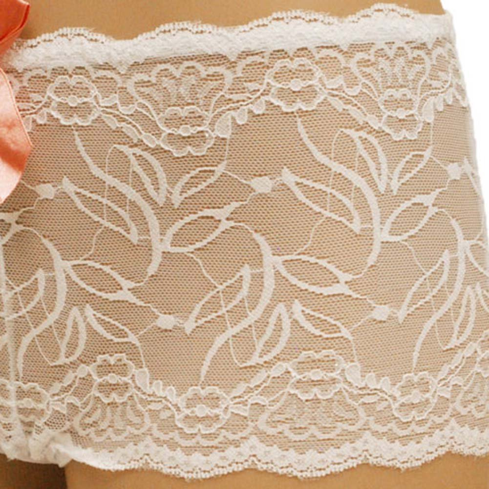 Flowered Lace with Flirty Bow Hipster Extra Large White - View #3