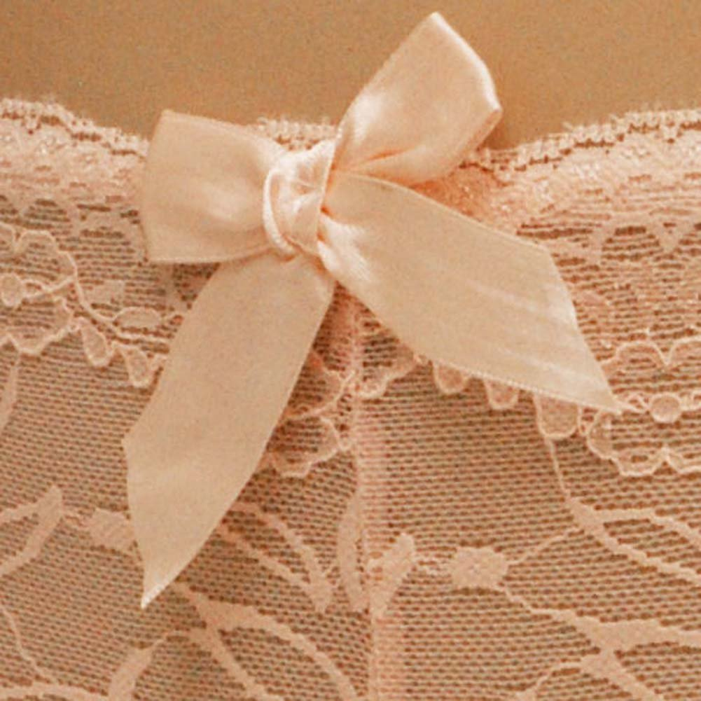 Flowered Lace with Flirty Bow Boyshort Small Pink - View #4