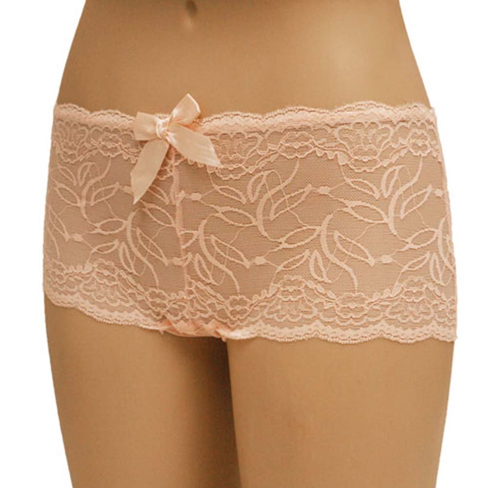 Flowered Lace with Flirty Bow Boyshort Panty Medium Pink - View #1