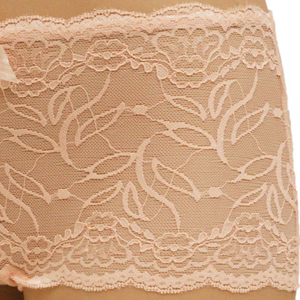 Flowered Lace with Flirty Bow Boyshort Panty Medium Pink - View #3