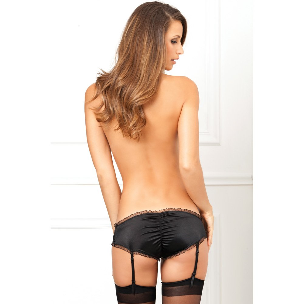 Rene Rofe Crotchless Garter Panty with Ruffles and Bows Medium/Large Black - View #4